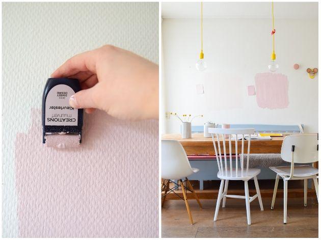 Welke kleur roze gaat het worden? Wimke Tolsma probeerde beide kleuren op haar muur met de Flexa Kleurtesters om te kiezen in welke kleur ze haar muur gaat verven. Stylish Pink of Sweet Desire? Test ook jouw exacte kleur op je muur thuis.