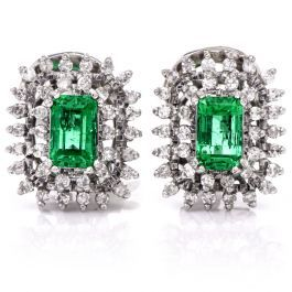 32461f37e Vintage Stud Emerald diamond 18-karat White Gold Clip back Earrings  #consignment #vintagejewelry #emerald #earrings
