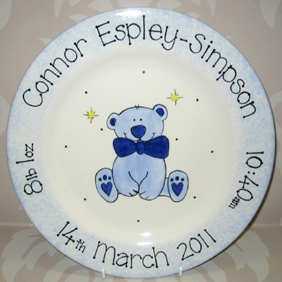 34 best birth announcement plates images on pinterest painted personalised ceramic baby boy teddy plate gift negle