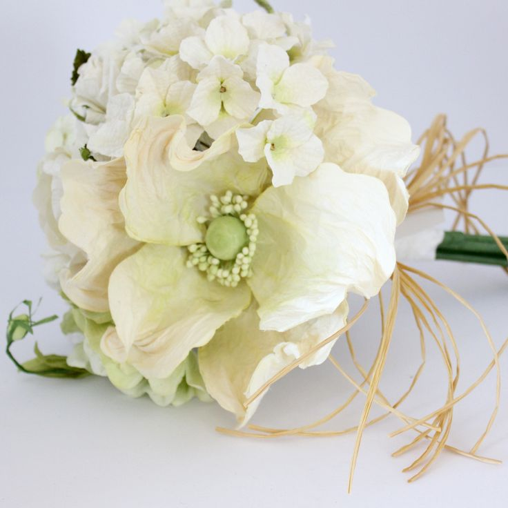 Mixed Paper Flower Bouquet- Classic White and Greens – Paper Flowers Australia