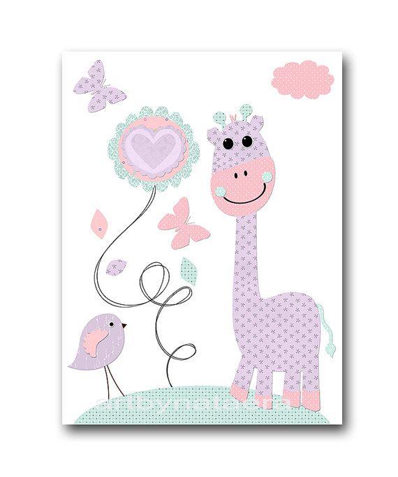 Violet vison rose hibou pépinière toile Art girafe par artbynataera