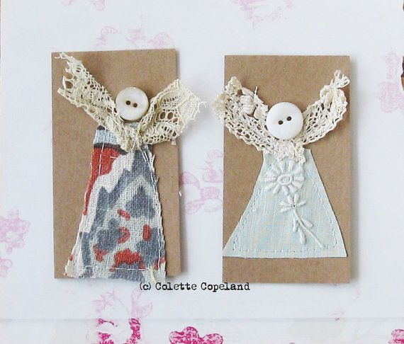 Collage and stitch on paper, a pair of little angels, miniature art