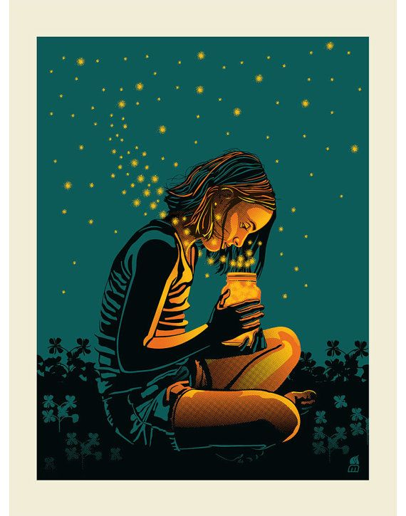 Summer Glowbugs 11 x 14 art screen print.   I cannot find the comment section anymore on pinterest