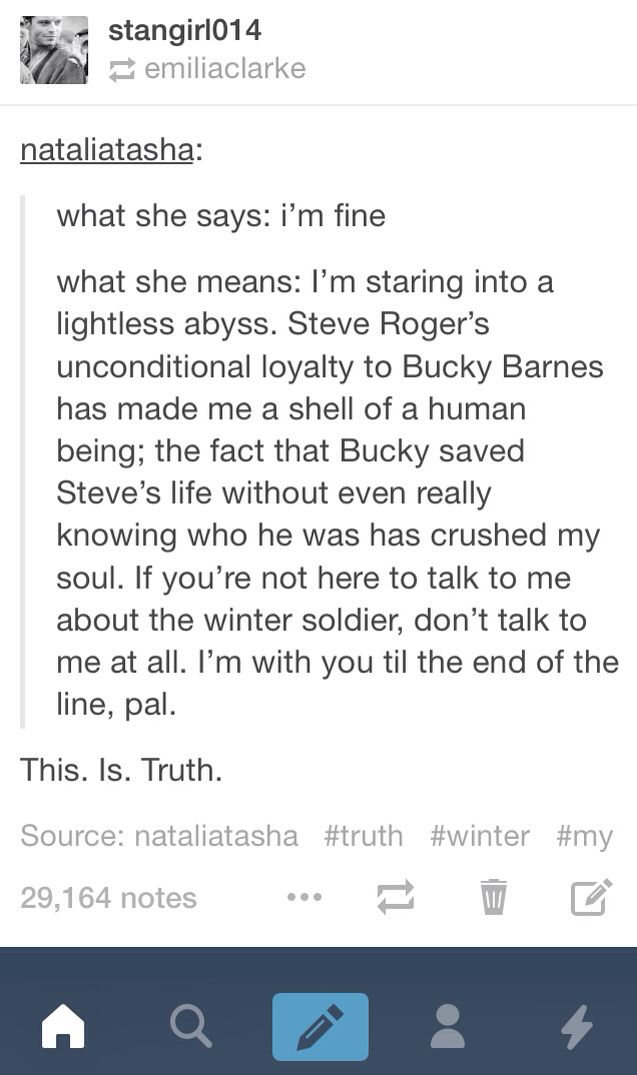ALL THE YES.<<< My Bucky feels are soaring higher then ever right now!!
