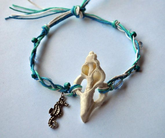 Beach Seashell Seahorse Hemp Ankle Bracelet, real shell, seahorse charm, seashell jewelry, beach ankle bracelet, surfer anklet