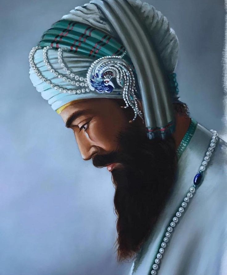 ...Guru Gobind Singh has been to turn sparrows into hawks and transform the consciousness of ordinary men and women to the level of the saints. This painting dwells on the source of all inspiration the Jyot (divine light) of Guru Nanak dev Ji which manifested itself through all ten masters and now resides forever in Siri Guru Granth Sahib Ji our Eternal Guru. I see Guru Gobind Singh Ji with the creator's voice flowing through him a connection to the eternal source which is inseparable from…