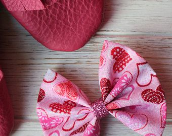 Baby Girl | Newborn | Toddler | Girls Heart Valentine Fabric Bow Nylon Headband | Hair Clip | Pig Tail Bows | Bow Tie