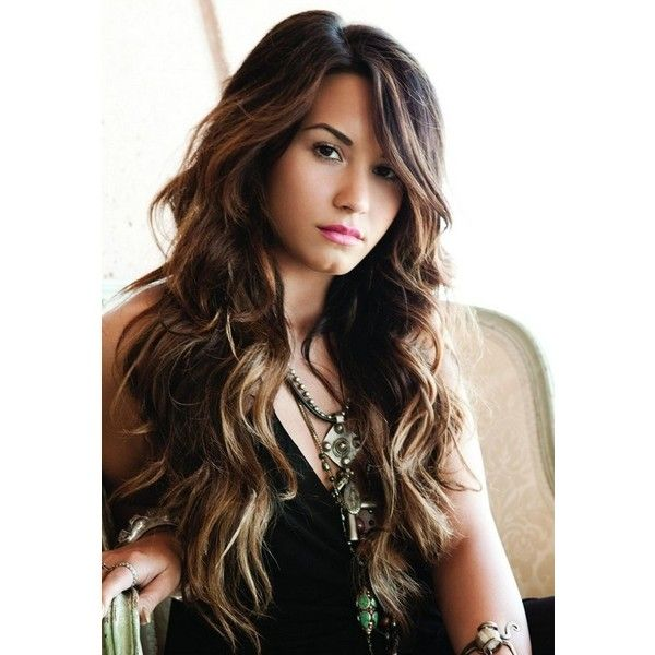 Demi Lovato Sexy long big wave hairstyle ❤ liked on Polyvore featuring demi lovato, demi, hair, people and backgrounds