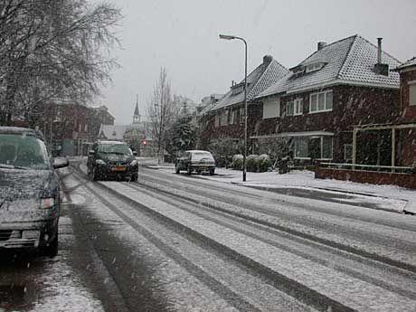 De Beukweg in Hengelo met op de achtergrond de algemene begraafplaats aan de Bornsestraat.