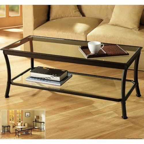 Coffee Table Rectangular Metal & Glass Home Living Room Furniture NEW #1