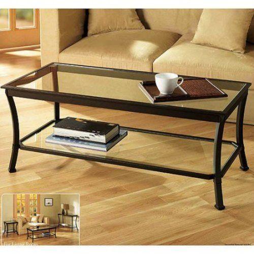 Coffee Table Rectangular Metal & Glass Home Living Room Furniture NEW #1