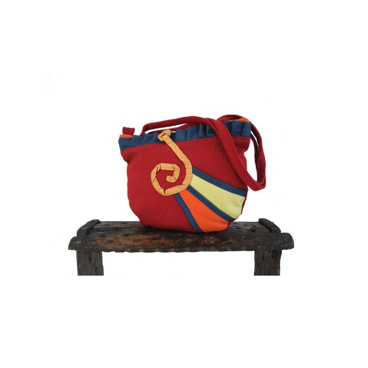 F/W 2015 shoulder bag, bordeaux furniture fabric and abstract funny decorations! byStrofediStoffa su Etsy