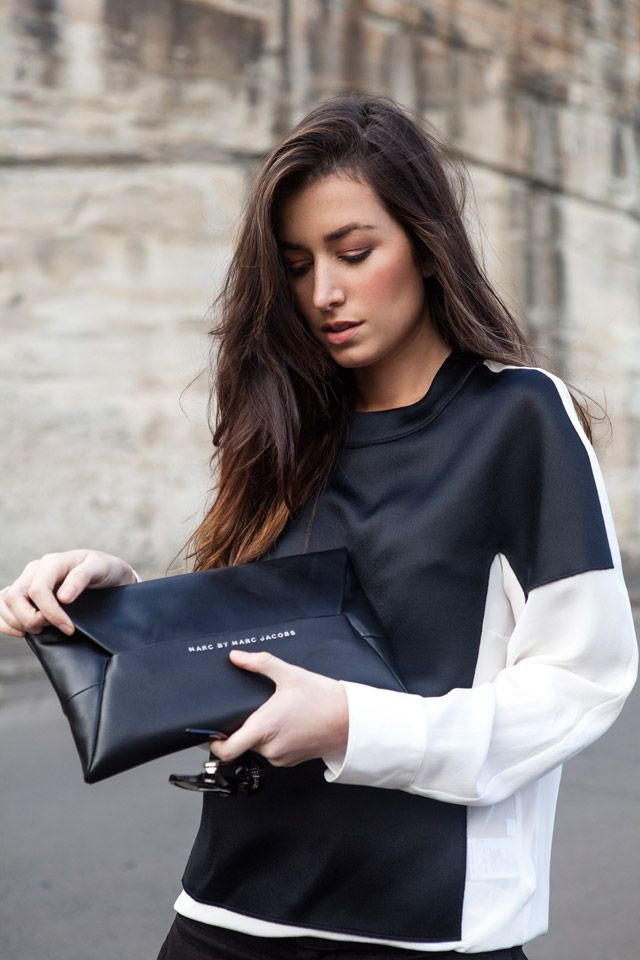 Neil Barrett top, Saint Laurent sunglasses, Marc by Marc Jacobs clutch [source: the chronicles of her]