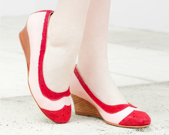 Dan Pink Taco Chino - *Free Shipping * Pink Wedge in leather and red suede. Handmade in Argentina. Quiero June