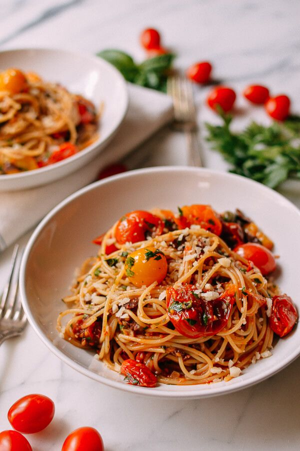 Linguine With Oven-Roasted Tomato Puttanesca Recipe — Dishmaps