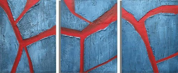 "triptych 3 panel wall art impasto textured ""Cracked Earth"" blue red gift 3 panel canvas wall abstract canvas pop abstraction 48 x 20 "" other sizes available"
