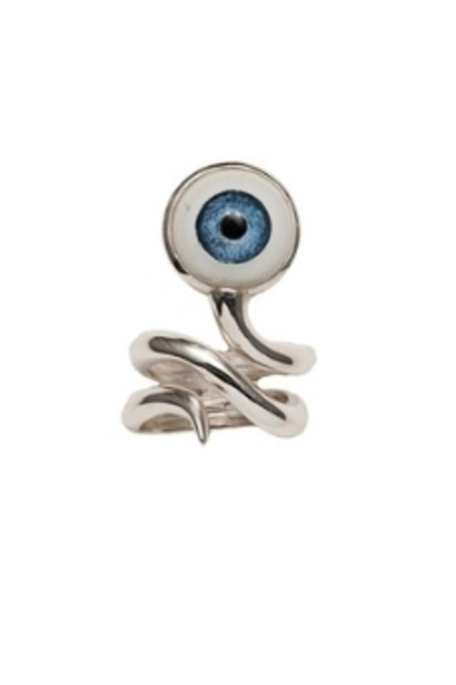 Silver snake ring with eye
