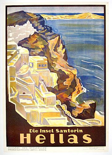 """Rare poster for Greek tourism on the Island of Santorini. Super """"Golden Age"""" poster showing seacoast and cliff hanging houses. Excellent color and condition. This is the German language verison."""