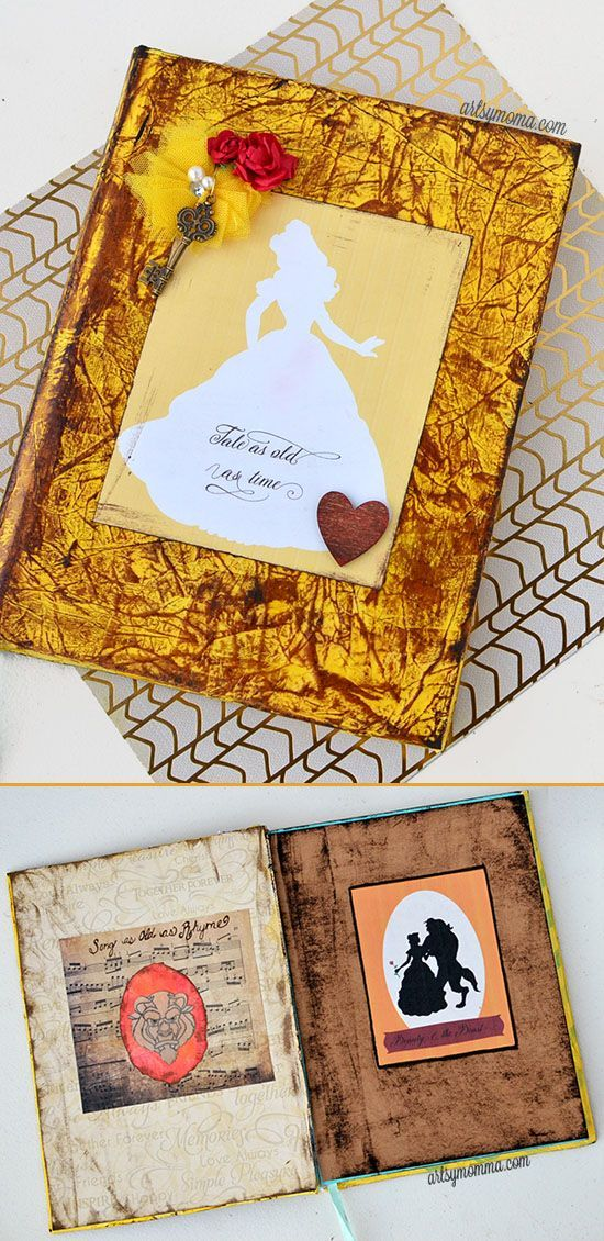 """Distressed Ink Journal Tutorial inspired by Beauty & the Beast Quote """"Tale…"""