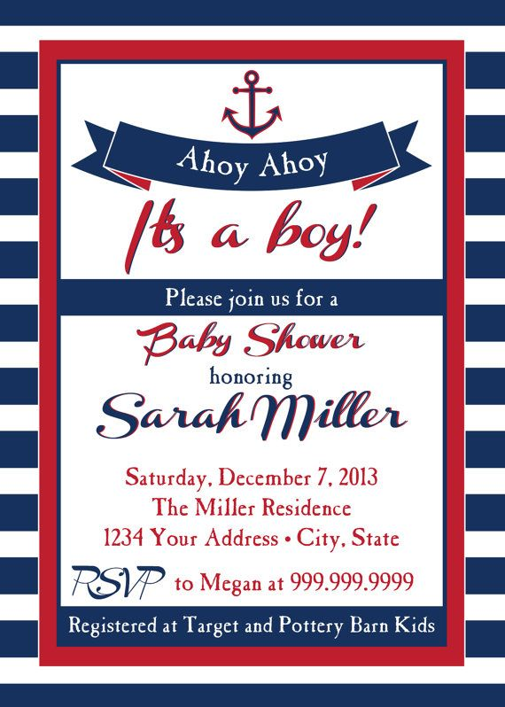 nautical baby shower invitation ahoy ahoy by sldesignteam on etsy