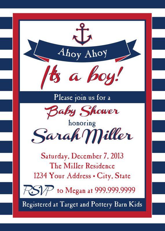 Nautical Baby Shower Invitation Ahoy By Sldesignteam On Etsy 18 00 Ideas Pinterest Invitations And