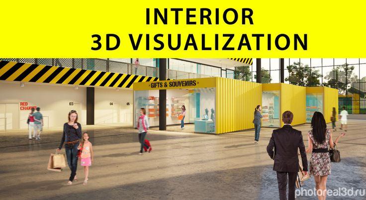 Необычная визуализация интерьера для аэропорта Курумоч, Москва. Заказчик ABD Architects