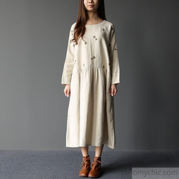 2017 spring spilled milk plus size cotton dresses maxi dress embroideried detail
