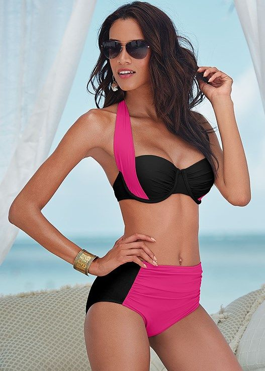 8d41ec1459 ... Push Up Swimwear Si. Venus Women s Plus Size Ruched High Waist Bottom  Full Bottoms - Black pink