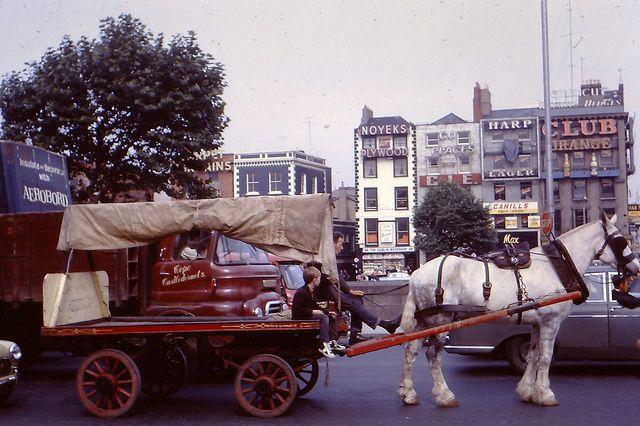 Aston Quay Dublin 1967 - horses and drays were common then in Dublin.