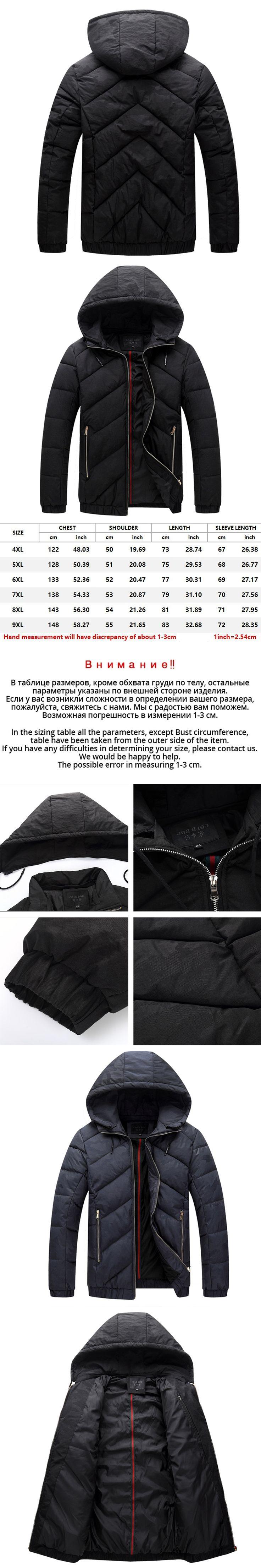 4XL-9XL Good Winter Jackets Big Size Parkas Mens Black Hooded Thick Warm Cotton  Padded Snow Coat Jaqueta Masculina Inverno W12