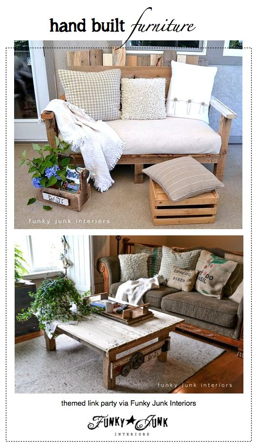 Hand Built Furniture - a themed link party via Funky Junk Interiors