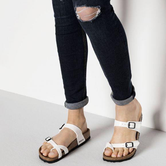 1caa50bbb827f Birkenstock Mayari Birko-Flor White Patent Sandals | Fashion in 2019 ...