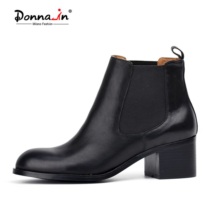 Donna-in classic calf leather Chelsea boots round toe low heel woman short boots leather lining and sock lady's boots
