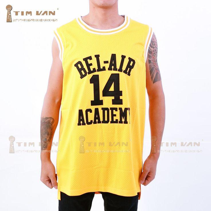TIM BESTELWAGEN STEENBERGE Zal Smith 14 Basketbal Jersey Bel-Air Academy Gestikt Genaaid-Geel