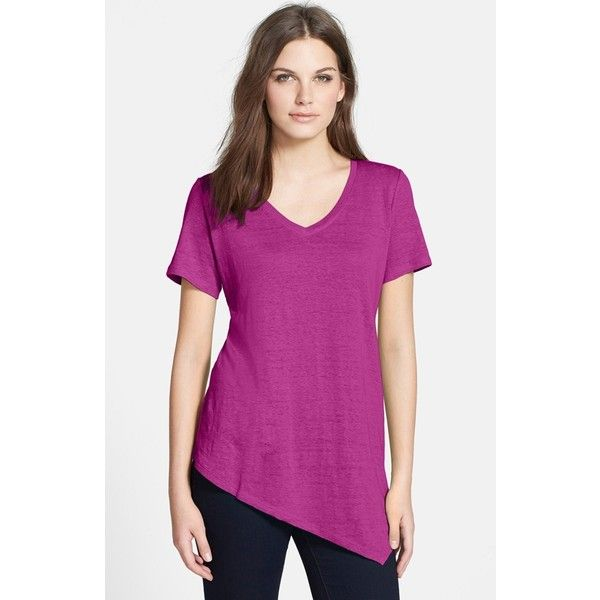 Women's Eileen Fisher Organic Linen A-Line Tee ($165) ❤ liked on Polyvore featuring tops, t-shirts, cerise, purple top, a line tops, linen tee, purple tee and short sleeve tops