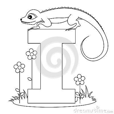 Djur färgläggning för alfabet som jag page