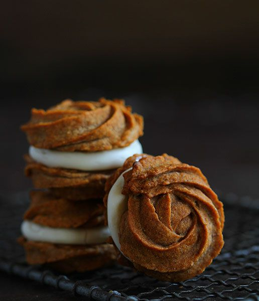 Pumpkin Rose Sandwich Cookies with Caramel Cream Cheese Frosting from @iambaker