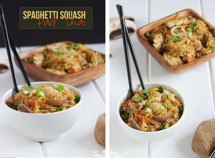 Spaghetti Squash Pad Thai… Veggie-packed and loaded with your favorite protein! #paleo