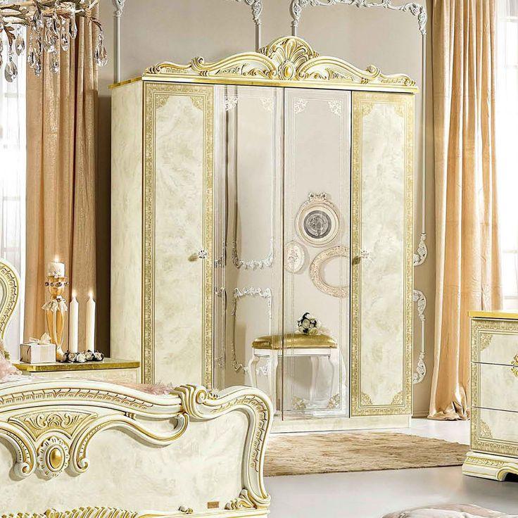 ESF Leonardo 4 Door Wardrobe With 2 Mirrors (2 Coat Hangers + 2 Shelves