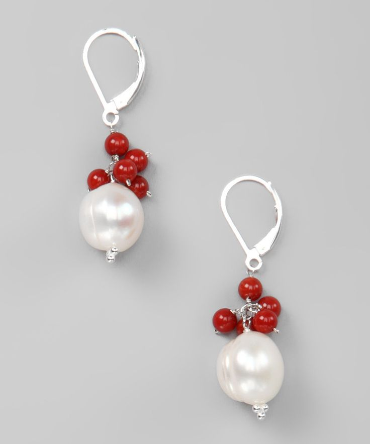 Red Coral & Freshwater Pearl Sterling Silver Earrings