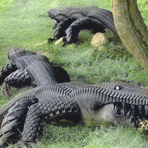 Recycled Tyre Crocodiles by Eric Langert