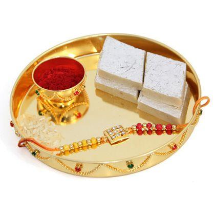 Golden Rakhi with thali