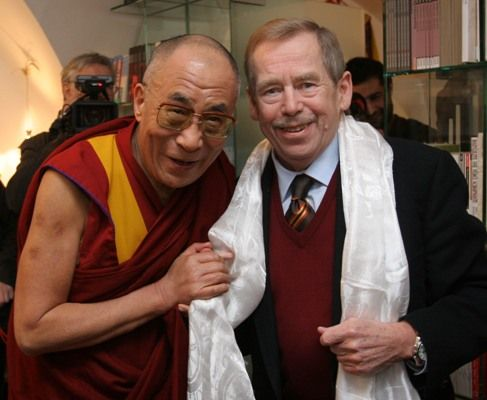 Two great men, true human beings, true friends, Václav Havel, famous playwrite and first democratic president of Czechoslovakia later #Czech republic after 40 years of communist terror, with His Majesty  Dalajlama. http://www.svasek.eu