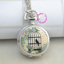 fashion women silver enamel bird cage pocket watch necklace birdcage drawing hour clock wholesale buyer price good antibrittle