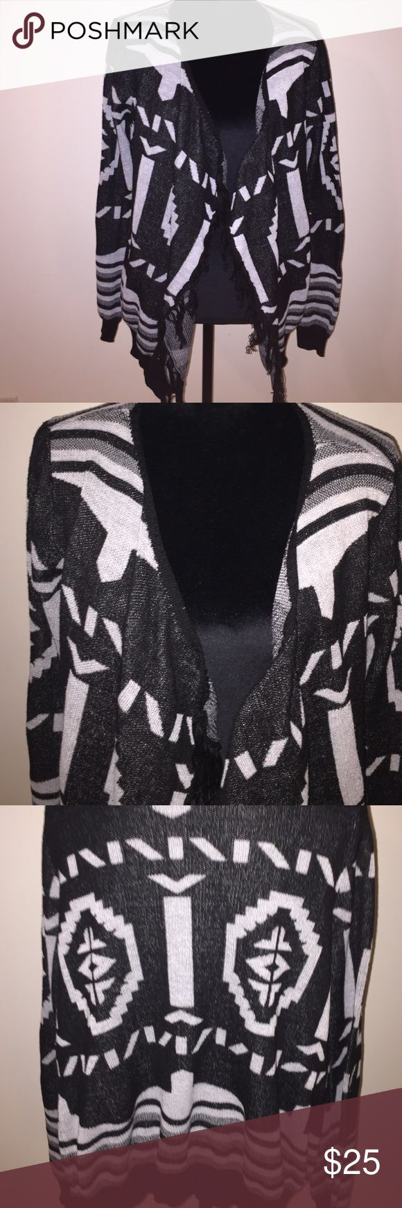 Aztec print cardigan Aztec print open front cardigan- black, white & gray. Excellent used condition T/O Sweaters Cardigans