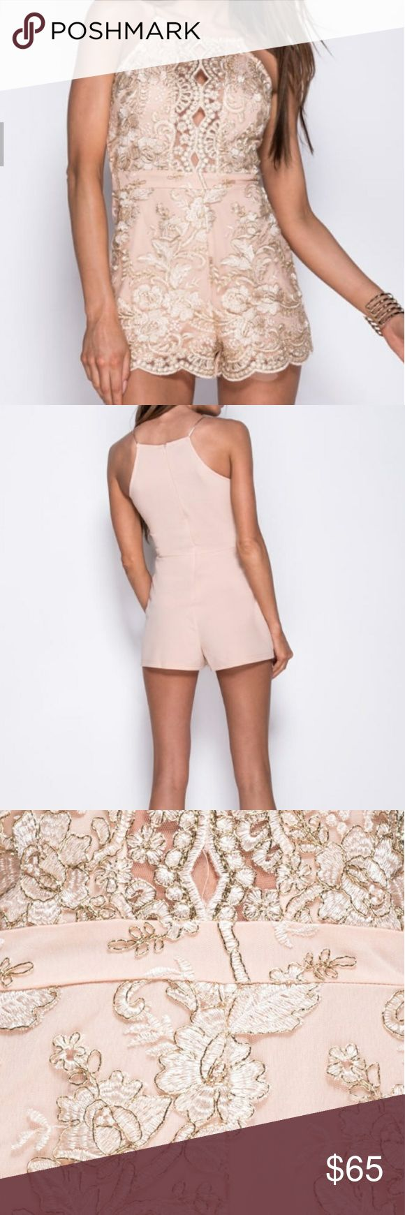 Pre-Order...Blush/gold lace playsuit(Romper) This is a very beautiful statement piece! Its a blush/gold playsuit! Dresses