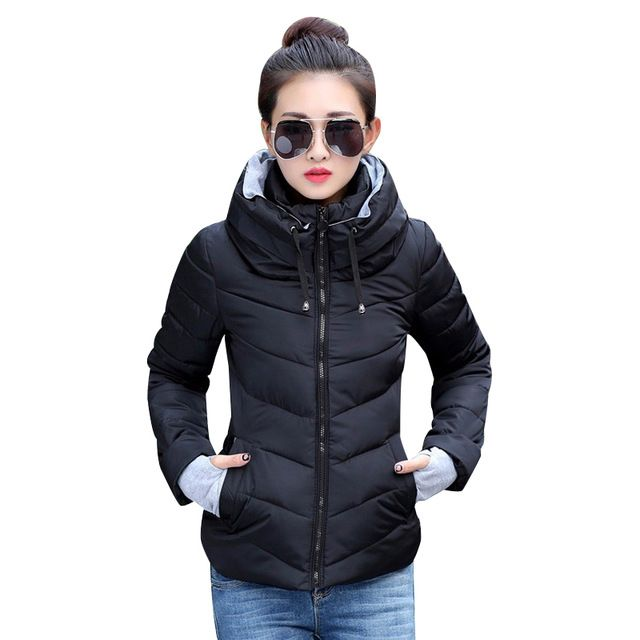 Hot Deals $18.04, Buy 2017 Winter Jacket women Plus Size Womens Parkas Thicken Outerwear solid hooded Coats Short Female Slim Cotton padded basic tops