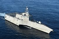 161208-N-SI773-0696 PACIFIC OCEAN (Dec. 8, 2016) The littoral combat ship USS Independence (LCS 2) is underway off the coast of San Diego. (U.S. Navy photo by Mass Communication specialist 1st Class Ace Rheaume/Released)