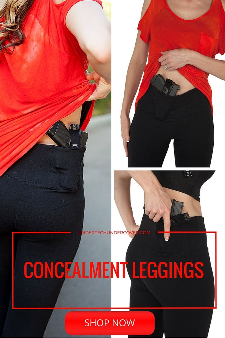 "These stylish and comfortable leggings are made of the same material and features the same fit as the most popular leggings brand available. The ORIGINAL CONCEALMENT LEGGINGS features two holsters, one in the back for a traditional ""kidney"" position and the other in the front for a traditional ""appendix"" position. This allows you to choose which is most comfortable and concealable based on your particular activity and clothing."