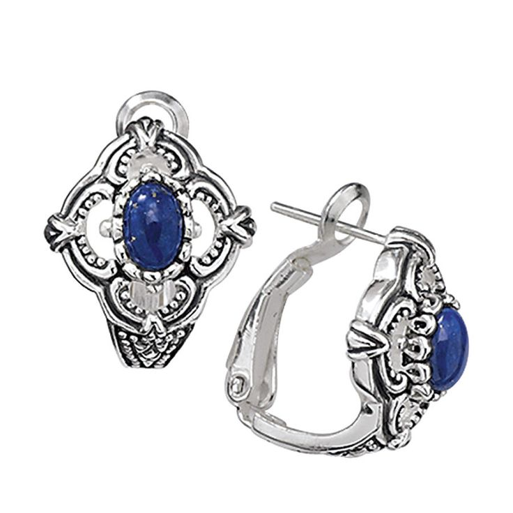 Lapis and Antiqued Sterling Sedona Earrings- Best-Selling Gifts, Clothing, Accessories, Jewelry & Décor - Insets of genuine lapis lazuli highlight the centers of these Southwestern-style earrings of antiqued sterling silver.